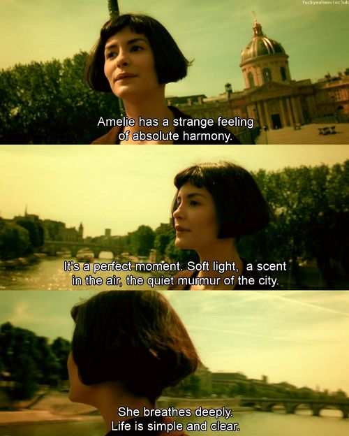 """""""I like to look for things no one else catches"""" - Watch Amelie once and you will fall in love with life all over again! :)"""