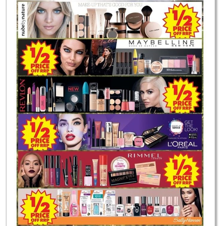 Hands up who's been waiting for a #makeup #sale ! Head to #ChemistWarehouse for #halfprice on #cosmetics by: #NudeByNature #Maybelline #Revlon #Loreal #Rimmel #SallyHansen  Available until 24.9.17