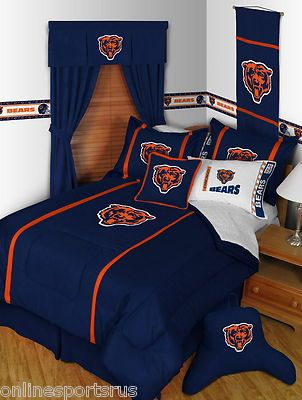 This is definitely my husband's style of bedroom decor, bedroom, kitchen, family room, garage, you name it. I have a Chicago Bears helmet lamp in the attic. It took me years to get it moved up there and out of the family room! Chicago Bears Comforter Microsuede | eBay