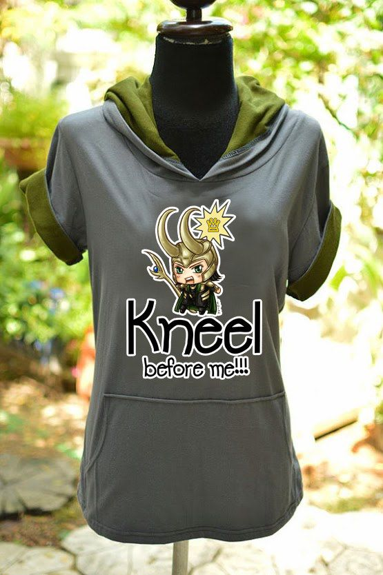 Loki chibi kneel before me on grayolive green t by chibiQcute, $34.00