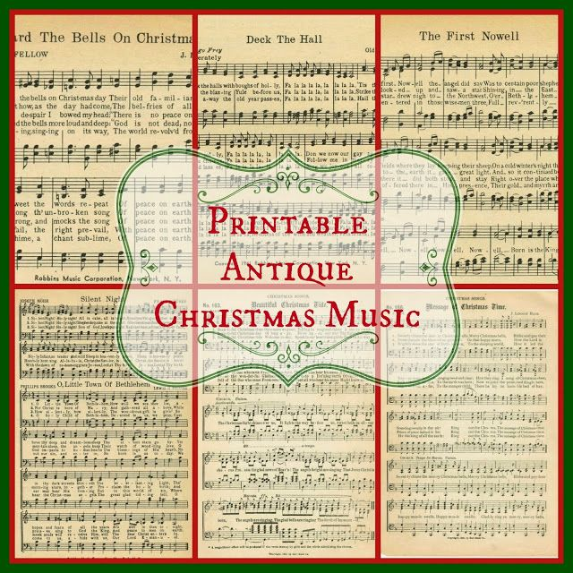 Free Printable Christmas Sheet Music for crafts, home decor and Christmas gifts ~ KnickofTime.net