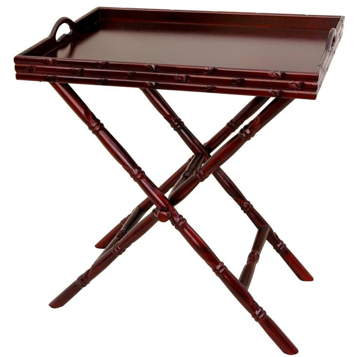 Oriental Furniture 24 in. x 15 in. Tea Tray with Trestle Stand in Rosewood