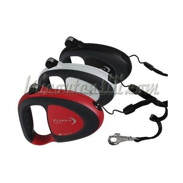 Guinzaglio retraibile Flippy   Guinzaglio retraibile che offre la massima sicurezza e facilità di conduzione del cane. Disponibie nei due colori : Rosso/Nero - oppure - Nero/Bianco.