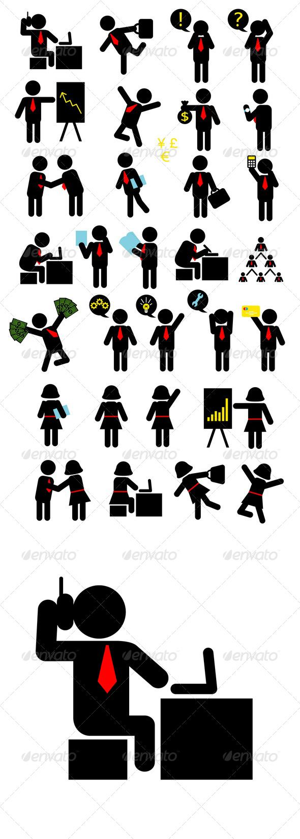 Business Pictogram Icons #GraphicRiver Businessman and business woman activity pictogram. ZIP included : .AI rgb, .EPS cmyk (each object is a group), .JPG high resolution, and PNG transparent background. Good use for symbol, web icon, logo, sticker design, or any design you want. Easy to use or edit. You can edit vector files : AI or EPS with Adobe Illustrator or any support vector program. Don't forget to rate if you