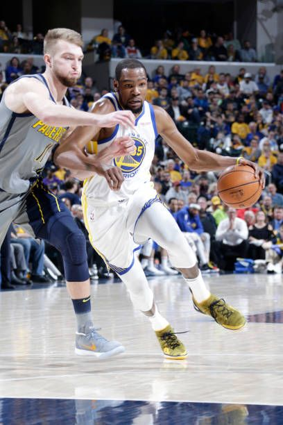 462aca1e397 Kevin Durant of the Golden State Warriors drives to the basket against the  Indiana Pacers on January 28 2019 at Bankers Life Fieldhouse in.