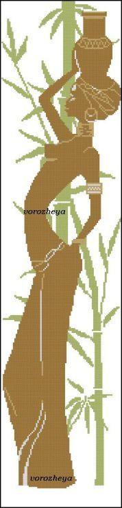 0 point de croix silhouette femme africaine - cross stitch silhouette african woman