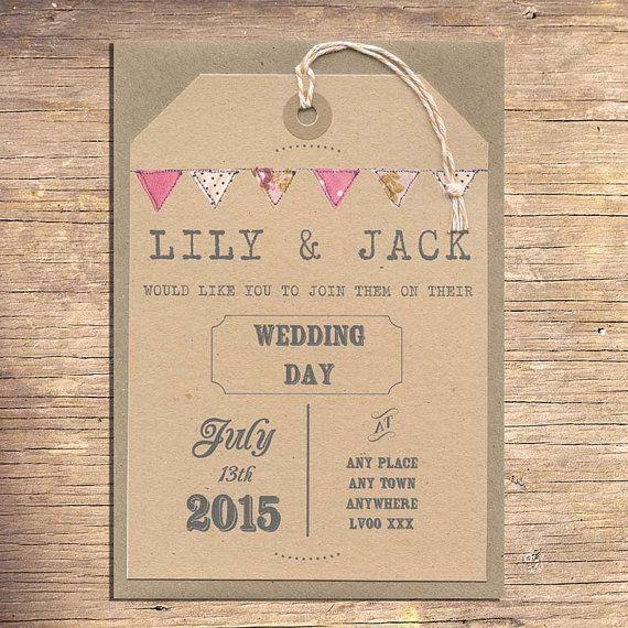 25 Rustic Wedding Invitations, Wedding Stationery, Outdoor Wedding, Modern Wedding, Bunting on Etsy, £53.25