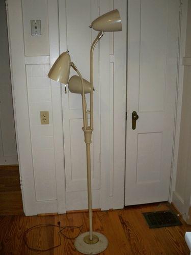 vintage midcentury modern eames era 3 metal bulletcone light pole floor lamp