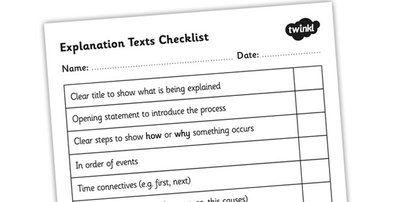 Explanation Texts Checklist - explanations, explanation texts, text types, ks2 text types, writing an explanation, explaining, ks2 english, ...