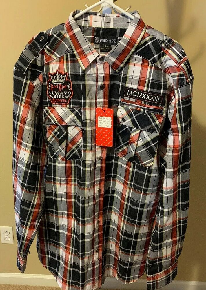3ebc71cc Mens Red Ape Long Sleeve Button Down Red And Black Plaid Shirt 5XL #fashion  #