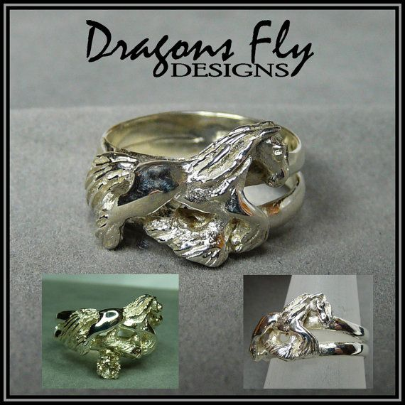 Horse Ring Baroque Horse Jewelry Feathered by DragonsFlyDesigns, $75.00