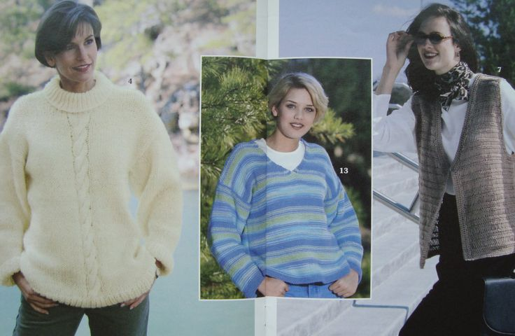 Women's Knitted Cardigans, Pullovers and Vests, Easy-to-Find Yarns - Leisure Arts Big Book of Quick Knit Sweaters, Sizes Small Medium Large by RedWickerBasket on Etsy