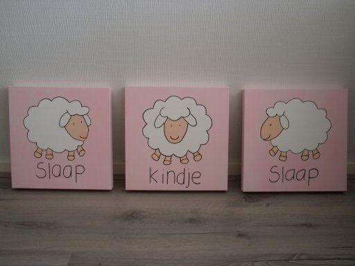 Slaap kindje slaap Licht roze www.easywebshop.com/kinderschilderijen