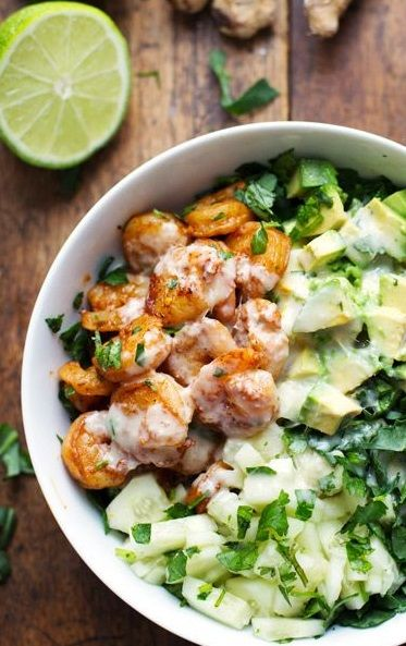SHRIMP & AVOCADO SALAD with MISO DRESSING ~~~ this recipe creation is influenced and adapted from what this blogger very much freaks and craves over from california pizza kitchen. her post will give you details on what was left out and adjusted. if you wish to get closer to the original, go to http://www.bakeitmakeitwithbeth.com/2013/08/cpk-style-miso-salad.html [california pizza kitchen copycat recipe] [pinchofyum] [bakeitmakeitwithbeth]