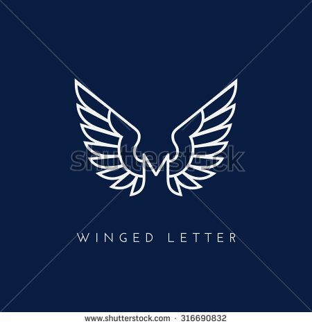 Letter M with wings. Template for logo, label, emblem, sign, stamp. Vector illustration.