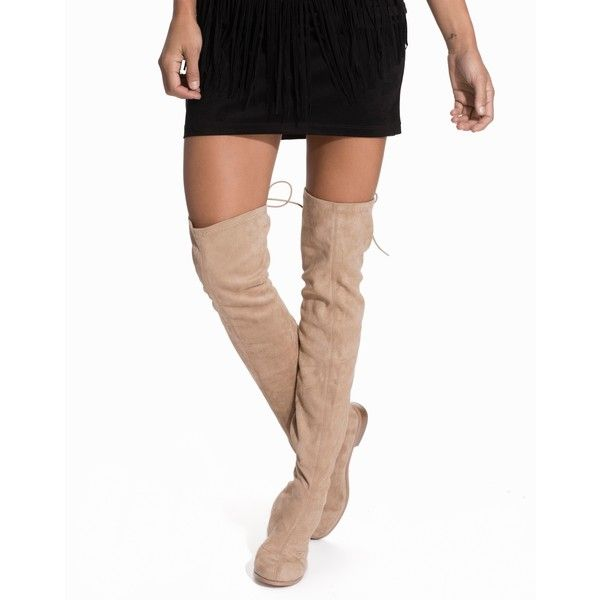 Nly Shoes Flat Thigh High Boot ($78) ❤ liked on Polyvore featuring shoes, boots, beige, everyday shoes, womens-fashion, flat thigh boots, low heel boots, above the knee boots, flat boots and faux-suede boots