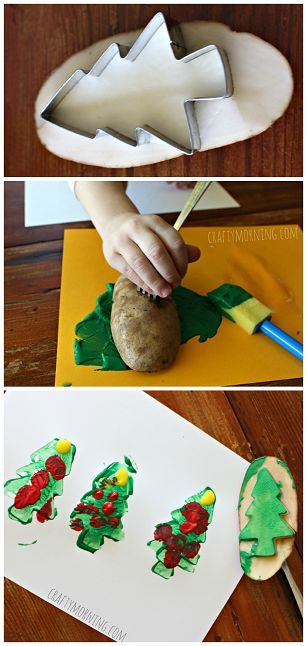 Christmas Tree Potato Stamping Craft for Cards - Great Christmas craft for kids to make! | CraftyMorning.com