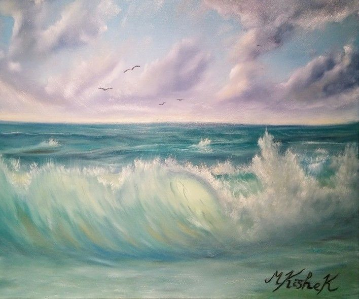 (c) A Cloudy Seascape by Marwan Kishek. Oil on canvas 20