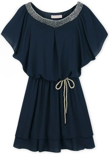 Navy Batwing Sleeve Sequined Pleated Chiffon Dress