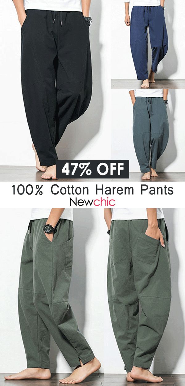 Mens Casual Baggy 100% Cotton Harem Pants Solid Co…