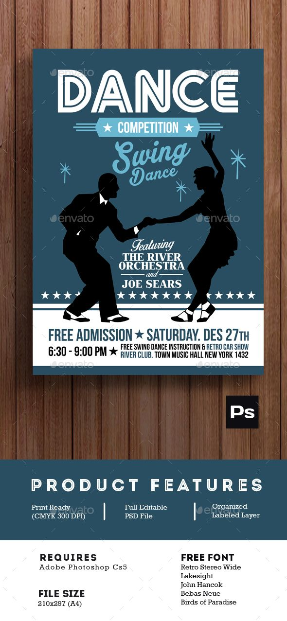 Swing Dance Competition Poster Flyer — Photoshop PSD #winter #snow • Available here → https://graphicriver.net/item/swing-dance-competition-poster-flyer/14810485?ref=pxcr