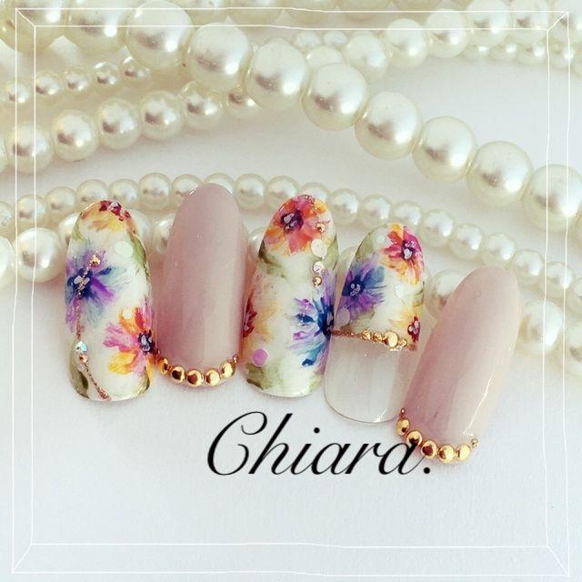 Flower. nail♡(春夏サンプルより) Instagram → yochan4.nail #YokoShikata♡キアラ #ネイルブック