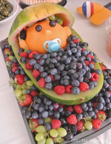 Watermelon Baby Carriage and other Vintage Biplane Baby Shower Ideas - OPC The Better Half