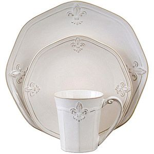 Better Homes and Gardens Country Crest 32-Piece Dinnerware Set, Cream Great for holiday gatherings.