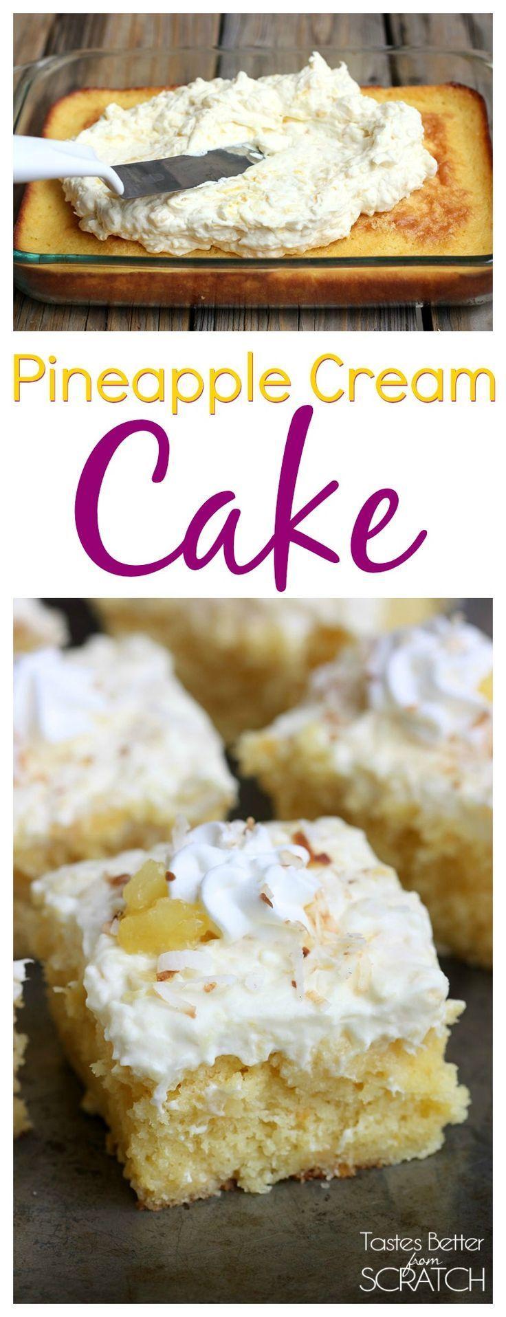 Pineapple Cream Cake is my favorite summer cake! Recipe from TastesBetterFromS...