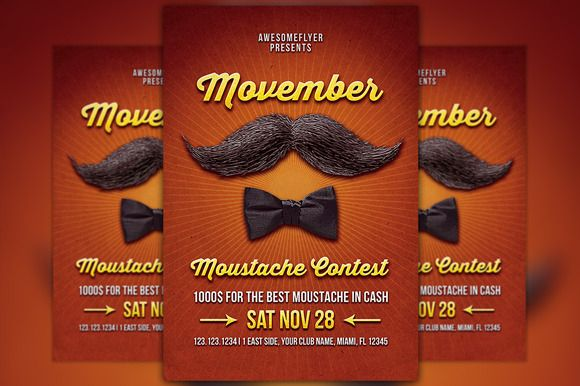Check out Movember Mustache Contest Template by Flyermind on Creative Market