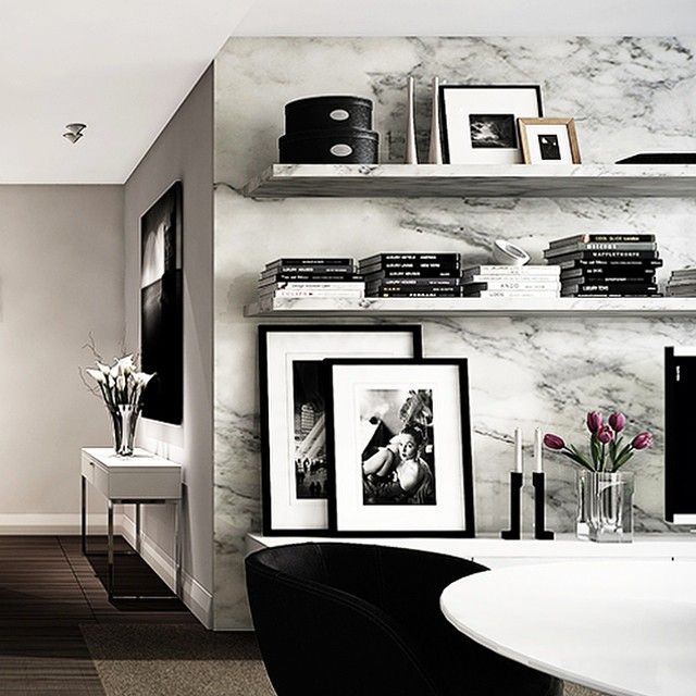 Today's Inspiration. A modern apartment filled with black and white photography. #thesefinewalls