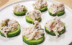 Tapas concombre-rillettes de maquereau frais