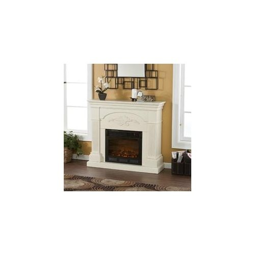 Sicilian Harvest Ivory Electric Fireplace For the bedroom with a flat screen hanging above it!