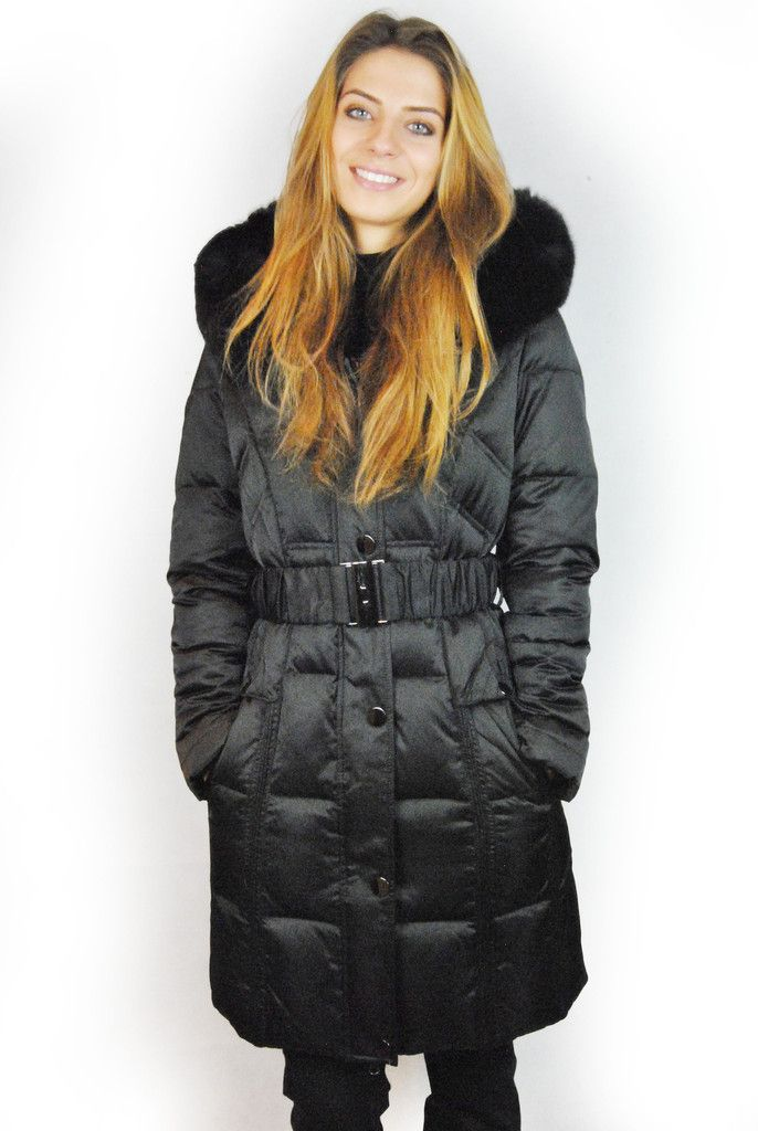 JESSIMARA 3/4 LENGTH BLACK HOODED PUFFER COAT WITH FOX FUR TRIM