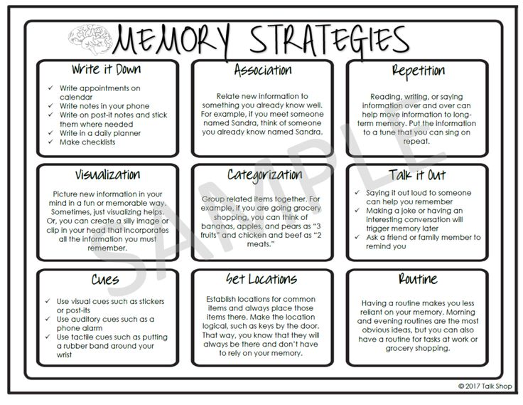 Memory strategies handout for speech therapy