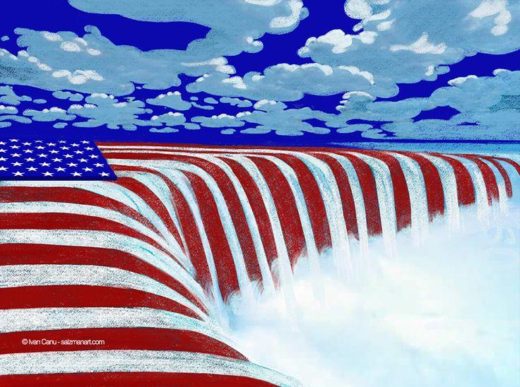 © Ivan Canu for salzmanart.com US election day 2016 #editorial #illustration #uselectionday #politics #flag #starsandstripes #conceptual