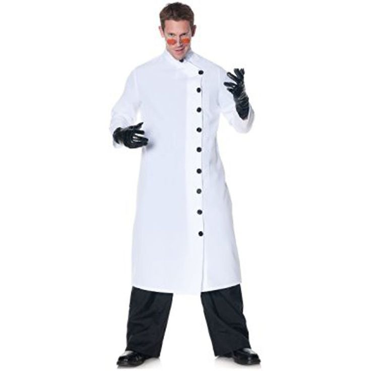 Great for Any Mad Scientist Costume. New It's Alive white lab coat. New white lab coat with black buttons. Does Not include, glasses, gloves, pants or shoes. Adult sized. | eBay!