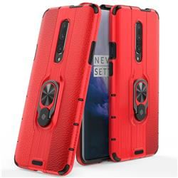 Alita Battle Angel Armor Metal Ring Grip Shockproof Dual Layer Rugged Hard Cover for OnePlus 6T – Red