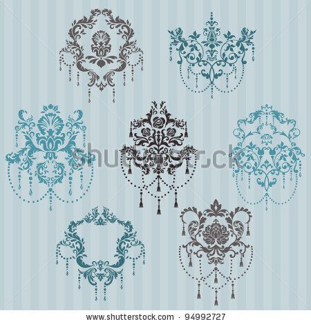 stock vector : Set of ornamental DAMASK illustrations - for your design, invitation, greetings in vector
