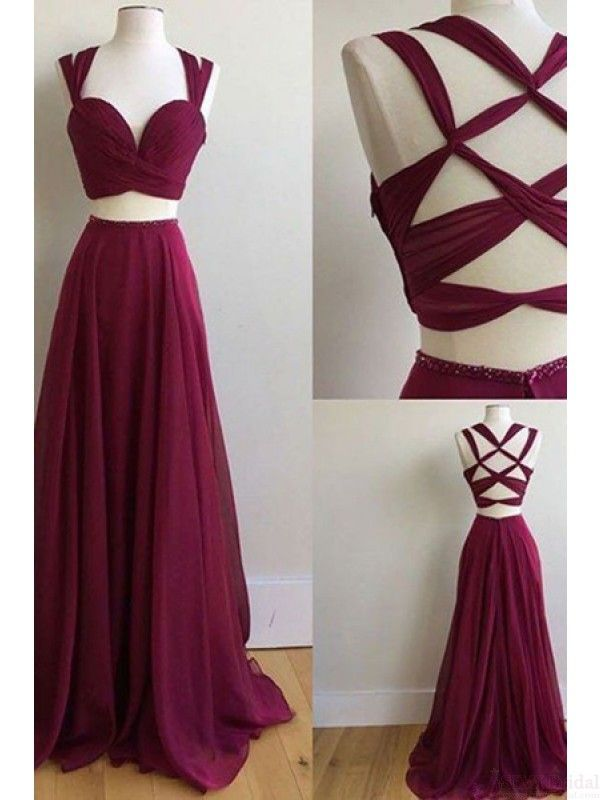 two pieces prom dresses,long chiffon evening dresses #SIMIBridal #Promdresses #eveningdresses