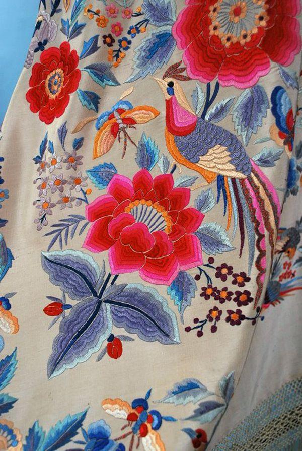 Antique Multi-colored embroidered Canton shawl