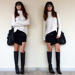 Black Cream on thevirgostyle.blogspot.gr #thevirgostyle #blog #greece #greek #blogger #love #like #ootd #style #fashion #outfit #lookbook #cream #knit #oversized #jumpsuit #leather #boots #skirt #black