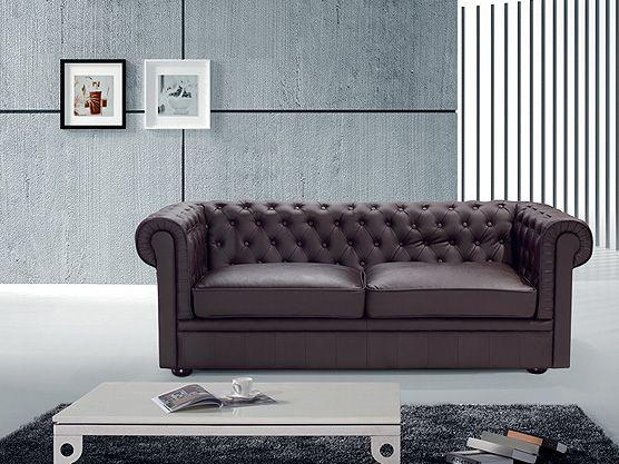 Dreiersofa - Ledersofa - Couch - Sofa aus Rindsleder in braun CHESTERFIELD
