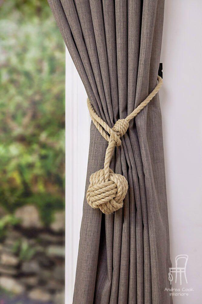 Large Monkey Fist Knot Hemp Rope Curtain Tieback Rope Ties Shabby Chic Ties Holdbacks Shabby Chic Window Rust