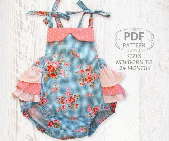 Baby sewing pattern for romper sunsuit, PDF Sewing pattern for baby girls toddler, Clothing pattern, Baby clothes, Instant Download, Romper on Etsy, $7.50