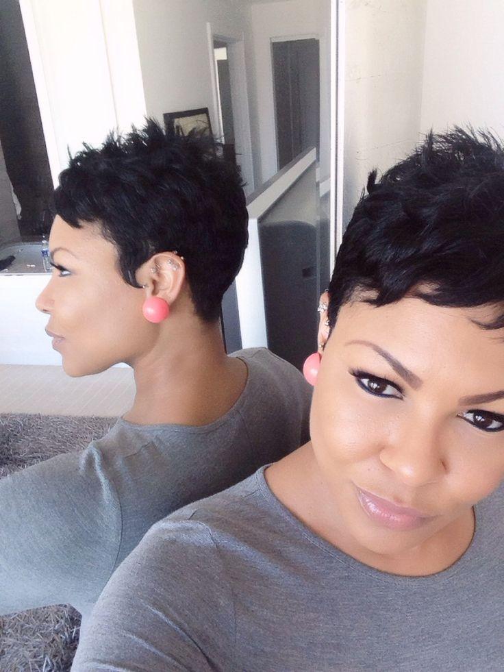 Short hair. Pixie cut.