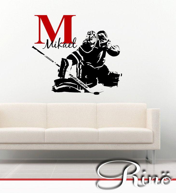 Hockey Goalie Decal - ice hockey goaltender Custom first name Hockey Decor - Hockey wall art vinyl sticker - gardien de but kids boy bedroom by RINOhomedecor on Etsy