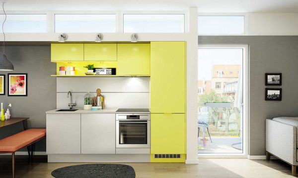 A mini kitchen designed by HTH that lets you mix and match the cabinets to get your own color scheme.