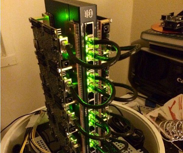 Nice DIY ARM board linux beowulf cluster.