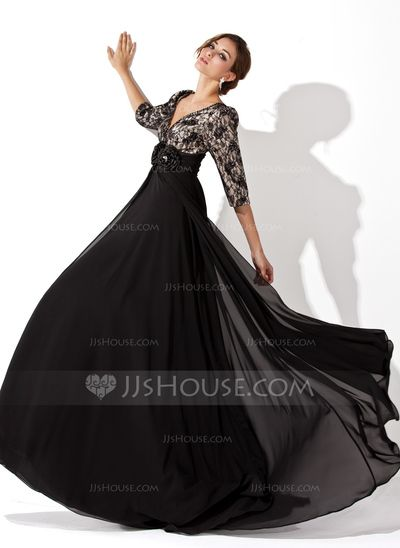 $144.49 - A-Line/Princess V-neck Sweep Train Chiffon Charmeuse Lace Evening Dress With Ruffle Beading Flower(s) (017030749) http://jjshouse.com/A-Line-Princess-V-Neck-Sweep-Train-Chiffon-Charmeuse-Lace-Evening-Dress-With-Ruffle-Beading-Flower-S-017030749-g30749
